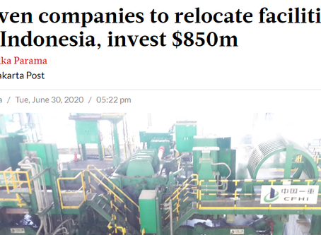 Seven companies to relocate facilities to Indonesia, invest $850m