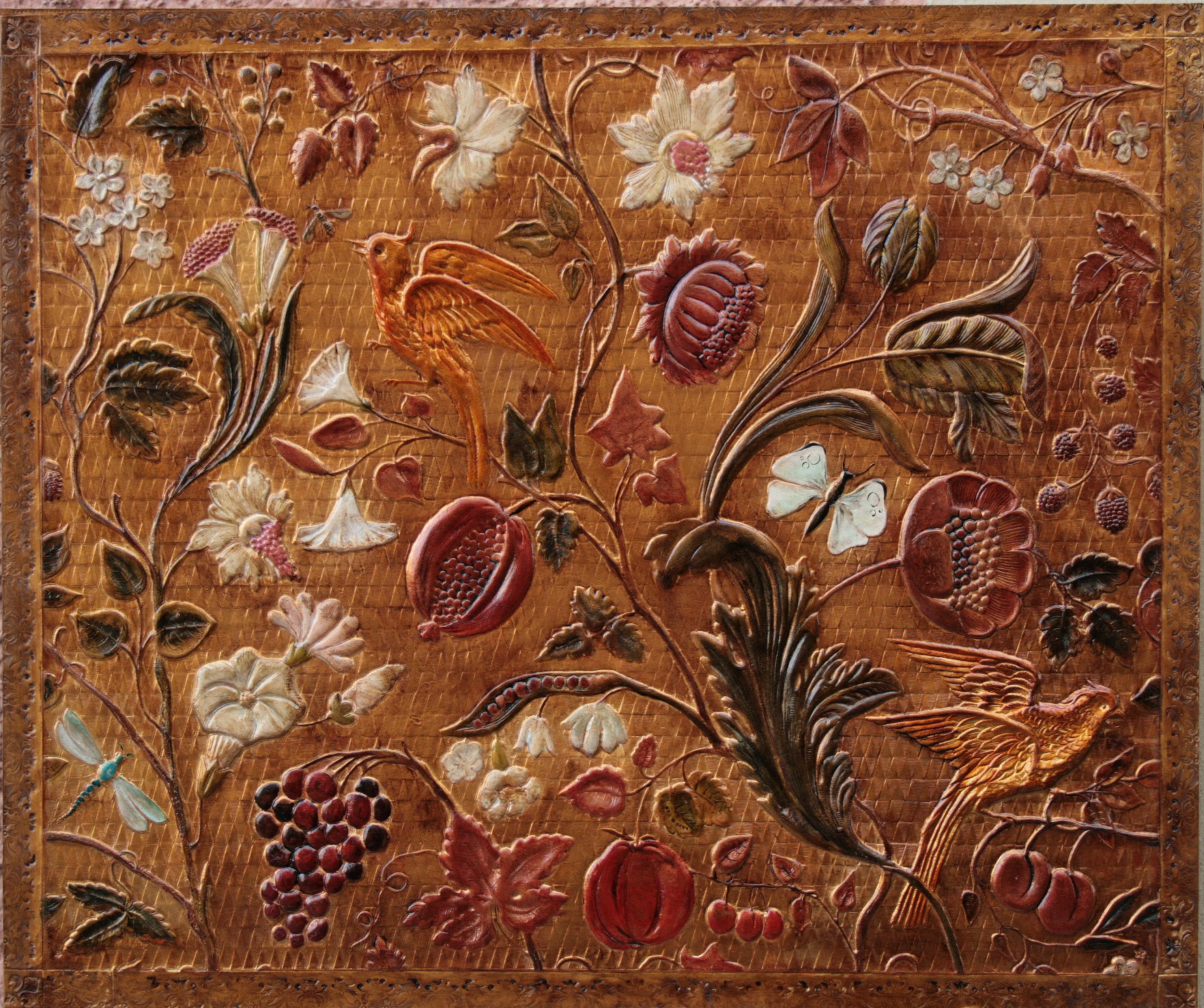 Carreau de cuir gaufré-Renaissance