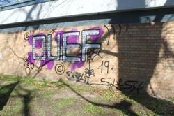 Graffiti entfernen von Klinkermauer