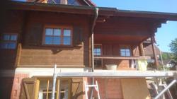 Das komplette Holzhaus wurde von uns abgestrahlt