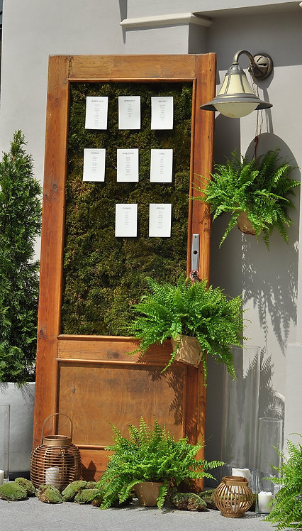 Drewniane drzwi z mchem