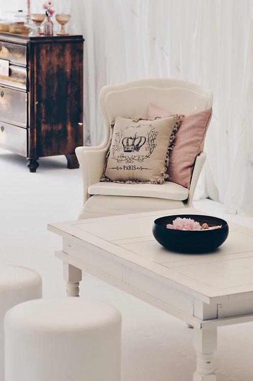 Ława drewniana biała