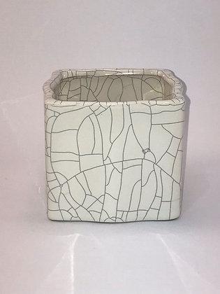 Small White Crackle Vase