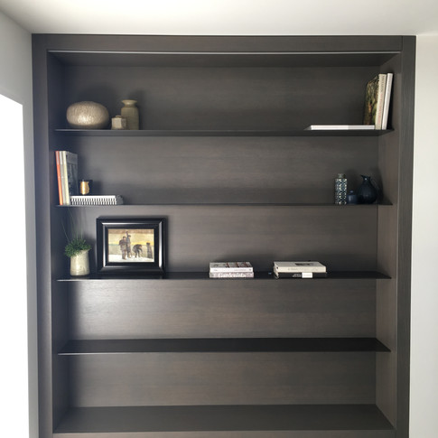 Oak shelving unit with steel shelves and LED strip lighting.