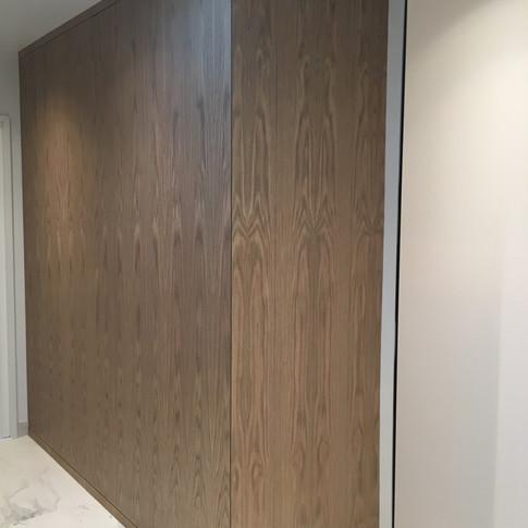 Large Oak linen storage cabinet.