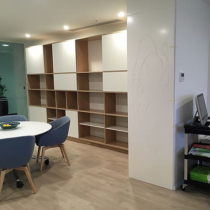 We're stoked with how these shelves with sliding doors turned out.jpg
