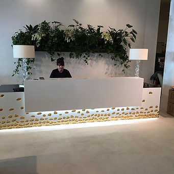 Reception Desk with gold leaf and LED lighting