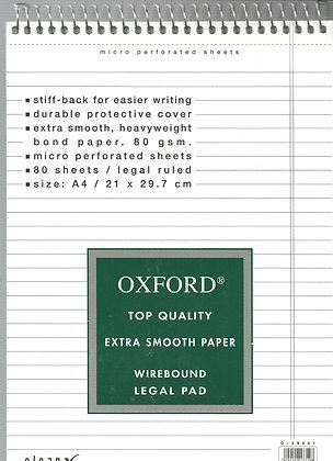בלוק מכתבים אוקספורד שורה לבן 29.7*21