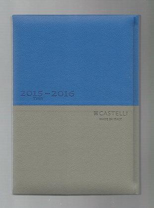 יומן קסטלי כחול/ אפור 23*16 - מגוון צבעים
