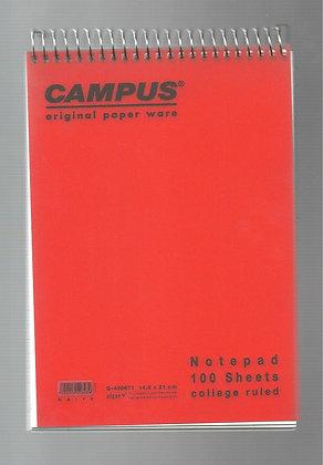 בלוק מכתבים קמפוס שורה לבן 14.8*21 - מגוון צבעים