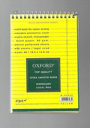 בלוק מכתבים אוקספורד שורה צהוב 10.5*14.8