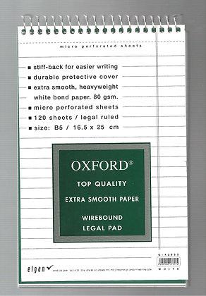 בלוק מכתבים אוקספורד שורה לבן 16.5*25