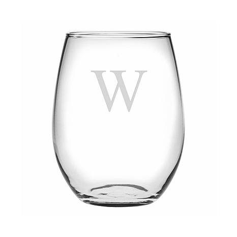 Monogrammed Stemless Etched 15 oz. Wine Glass