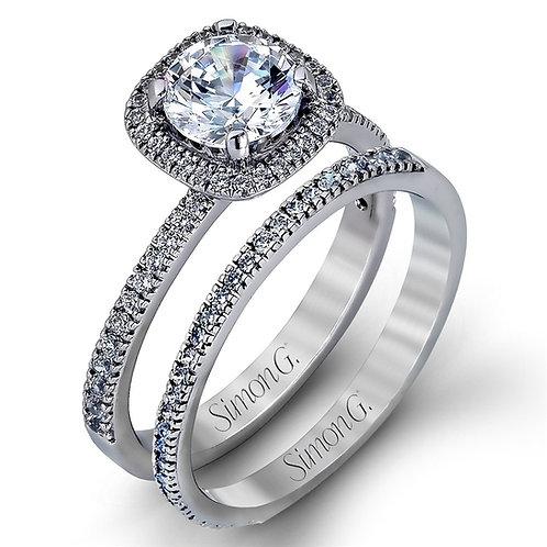 "Simon G. 18K Gold & Diamonds ""Passion Collection"" Halo Semi Mount Engagement Set"