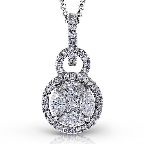 Simon G Brilliant Mosaic 18k White Gold Fancy Shape Diamond Pendant