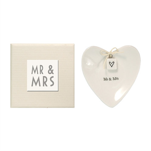 """Mr. & Mrs."" Heart-shaped Ring Dish in Gift Box - Porcelain"