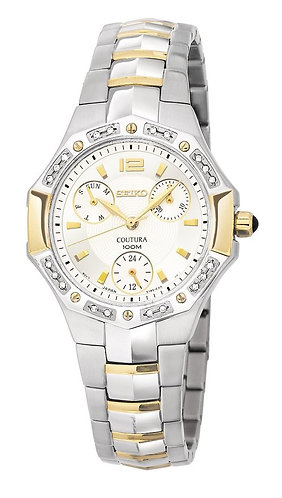 Seiko Women'S Suk008 Diamond Accented Coutura Watch Two Tone