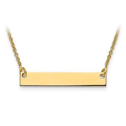 14k Small Solid Yellow Gold Polished Blank Bar With Chain