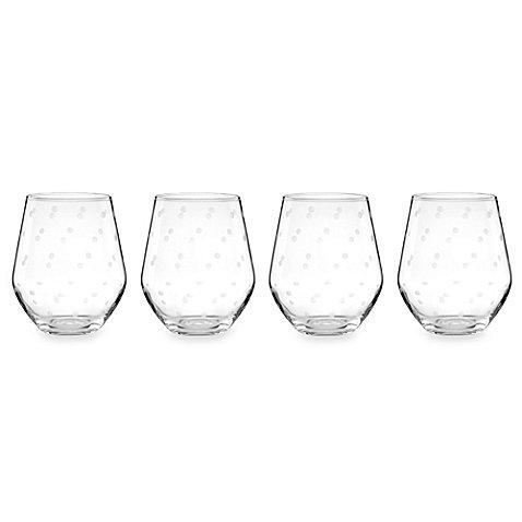 kate spade new york 'larabee dot' Stemless White Wine Glasses Set