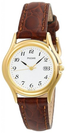 Pulsar Women's 27mm Brown Pig Skin Leather Band Watch PXT234S