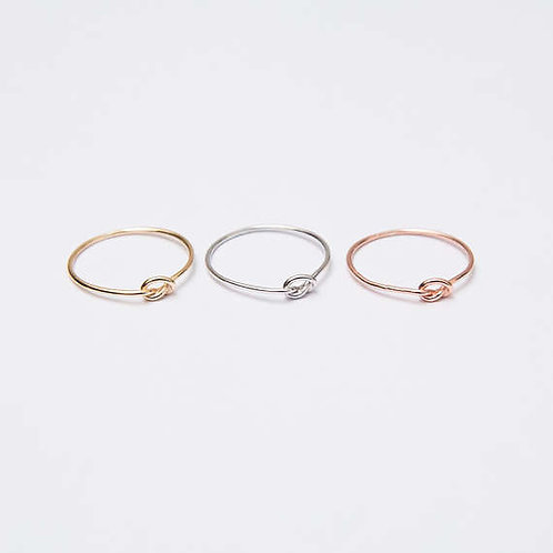14 Karat Custom Thin Tight Love Knot Ring