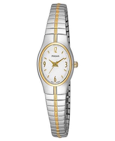 Pulsar Ladies Two Tone Stretch Bracelet Watch PC3092