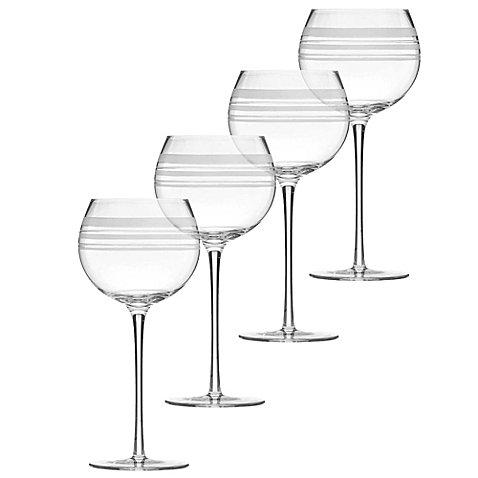 kate spade new york 'library stripe' Set of 4 Balloon Wine Glasses
