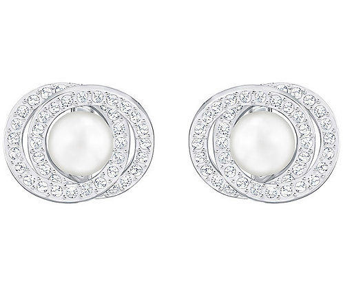 Swarovski Elaborate Pierced Earrings, White