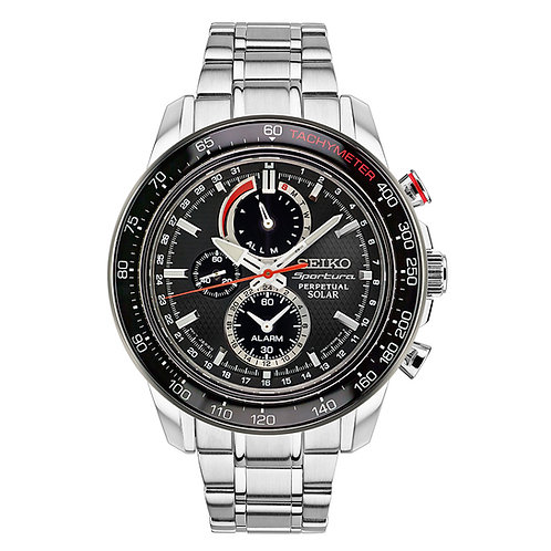 Sportura Solar Chronograph Black Dial Stainless Steel Men's Watch