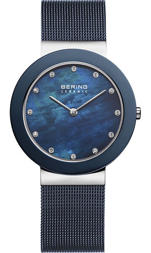 BERING Ceramic Collection Quartz Blue Women's Watch With Mesh Band 11435-387