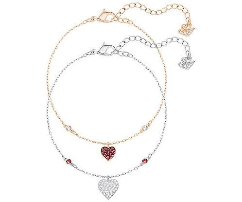 Swarovski Crystal Wishes Heart Bracelet Set, Red