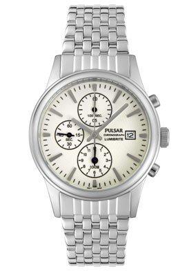 Pulsar Men's PF8177 Chronograph Silver-Tone LumiBrite Dial Watch
