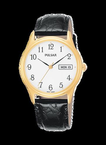 Pulsar Men's Goldtone White Dial Leather Strap Watch PXN080