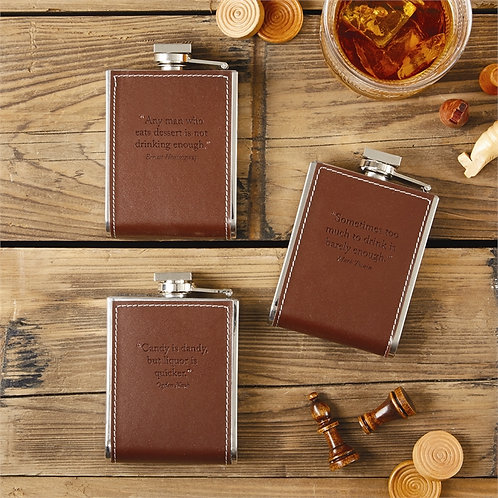 TWO'S COMPANY 6 Oz Leather & Stainless Flask with Quotation