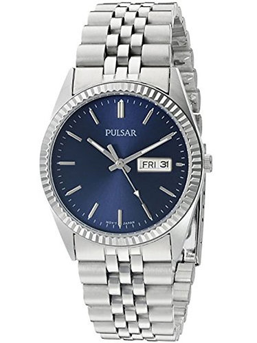 Pulsar Quartz Men's Stainless Steel Watch with Blue Dial PXF303