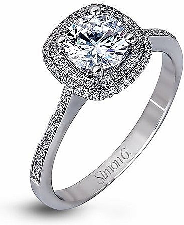 Simon G. NR536 18K White Gold with Diamonds Halo Semi Mount