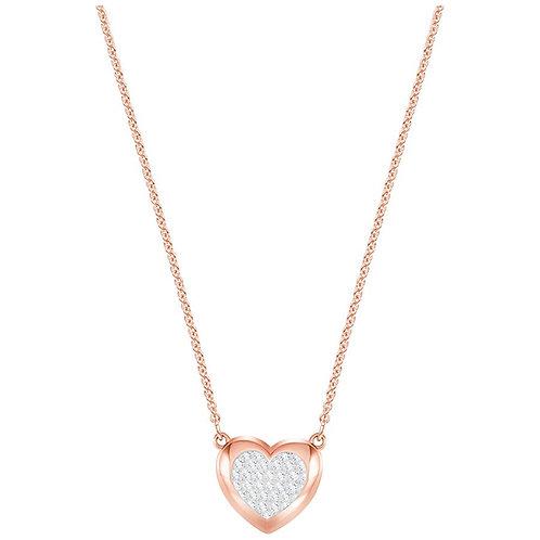 Swarovski Hall Heart Pendant, White, Rose Gold Plating