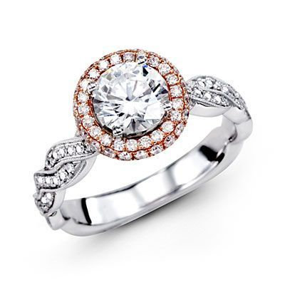 18K Rose & White Gold Simon G Engagement Ring Semi Mount