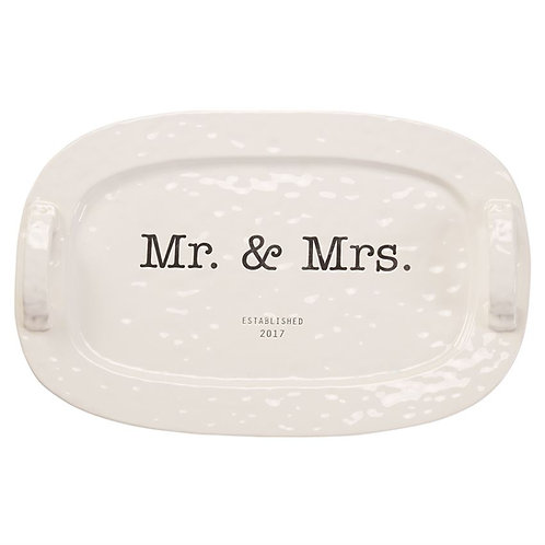 Mud Pie Wedding Collection 2017 Mr. & Mrs. Ceramic Handled Platter