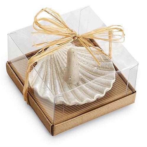 Mud Pie Ceramic Sand Nautilus Fan Shell Ring Holder
