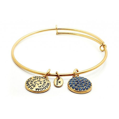 Chrysalis Good Fortune September Sapphire Birthstone Crystal Expandable Bangle