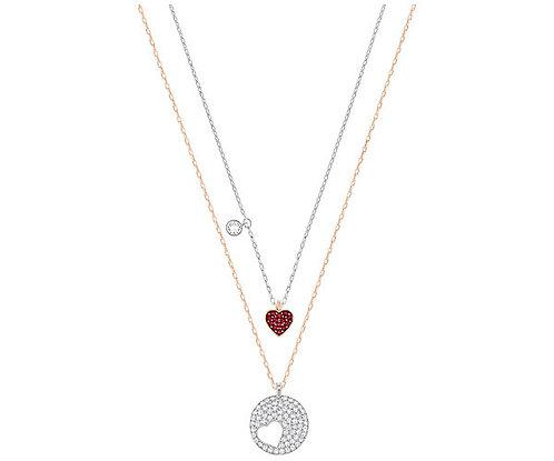 Swarovski Crystal Wishes Heart Pendant Set, Red