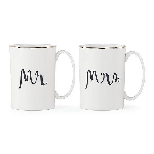 kate spade new york Bridal Party Mr. & Mrs. 2-piece Mug Set by Lenox