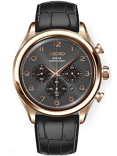 Seiko Men's 'Solar Chronograph' Quartz Stainless Steel and Leather Casual Watch