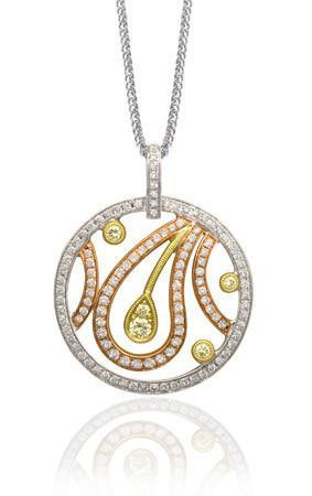 Simon G. Eye Catching Paisley White and Canary Diamond Pendant