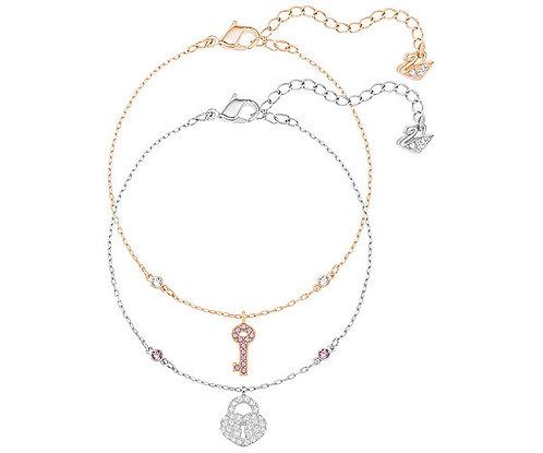 Swarovski Crystal Wishes Key Bracelet Set, Pink
