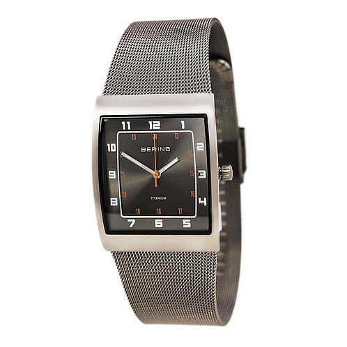 BERING Time 11233-077 Mens Titanium Collection Watch with Mesh Band and super ha