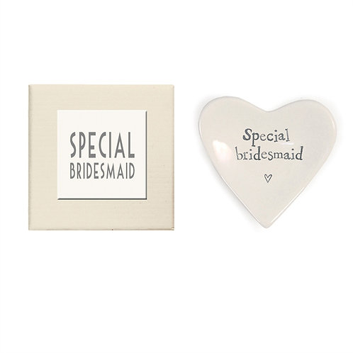 """Special Bridesmaid"" Heart Decorative Dish in Gift Box - Porcelain"