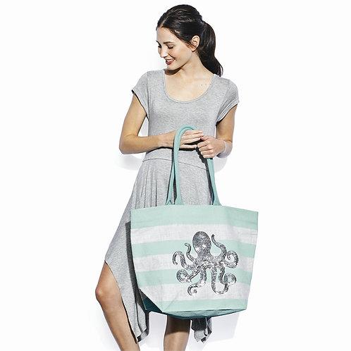 Sea Life Octopus Sequin Icon Tote Bag