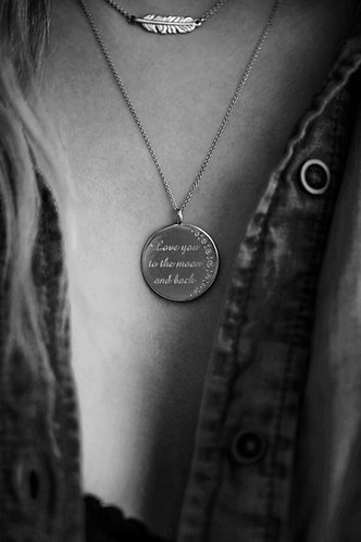 """.925 Sterling Silver and Diamonds """"Love You to the Moon and Back"""" Custom Pendant"""